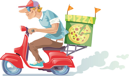 The pizza delivery boy in a baseball cap is riding the retro scooter