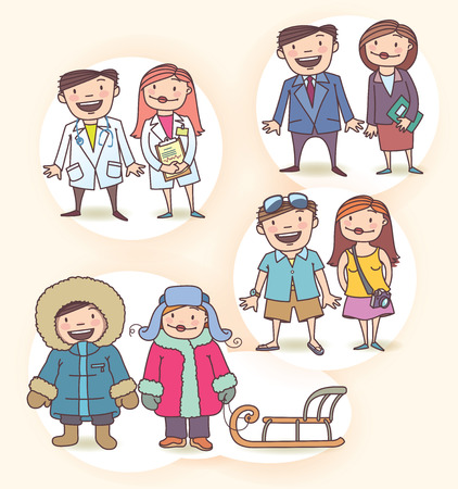 There are  the smiling doctor and his assistant, the businessman, businesswoman, the couple of happy tourists and the man with the woman wearing the winter cloth with the classic sledge   Vector
