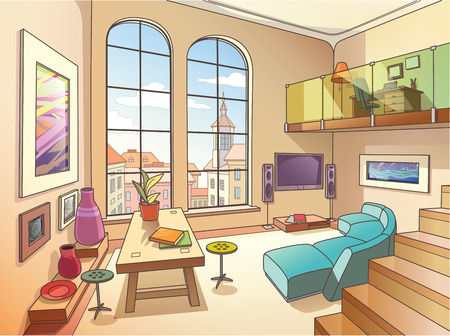 balcony window: The light interior of a two-storied cozy living room is full of paintings and other art objects in the bright sunny day   Illustration