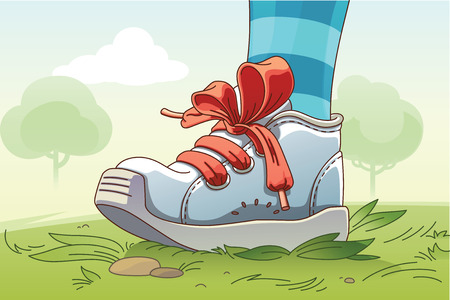 baby shoes: The childs leg wearing the small sneaker with a red lacing is standing on the grass
