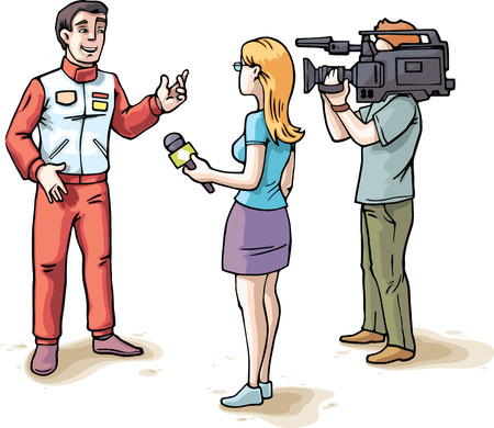 The young female journalist and the camera operator are filming an interview with the glad racer wearing in a red sports team uniform  Vector