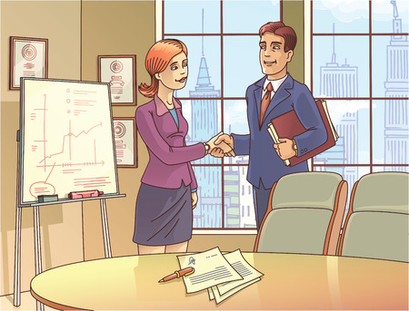 The young businessman and the businesswoman are glad to sign the contract and shaking the hands in the meeting room