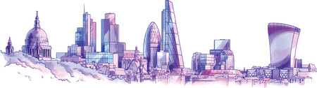 tower of london: The hand-drown city skyline in a pastel shades. There are st.Paul