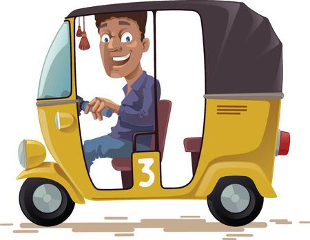 De lachende Indiase riksja is het besturen van zijn voertuig op drie wielen. Hij kijkt naar camera.Editable vector EPS v10.0 Stock Illustratie
