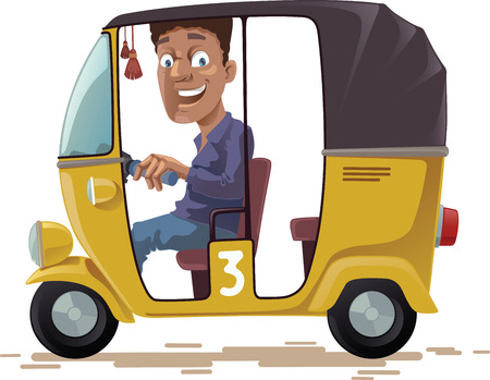 The smiling indian rickshaw is driving his three-wheeled vehicle. He is looking at camera.Editable vector EPS v10.0