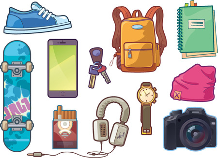 beanie: The set of the different vector objects. There are: sneaker, watch, keys, smartphone, DSLR camera, headphones, skateboard deck, backpack, beanie headwear,  notepad with a bookmarks and a pack of сigarettes.