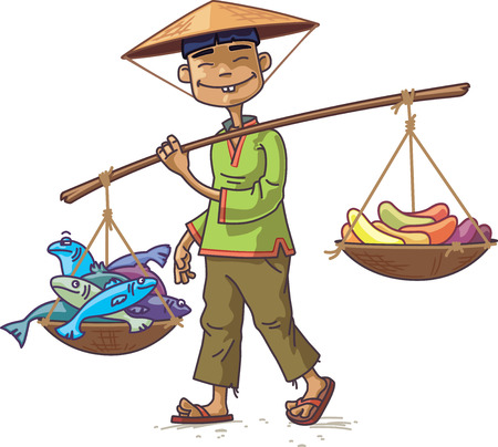 The smiling Asian man in a conical hat is carrying the fresh fish and the fruits. The merchant looking at camera.