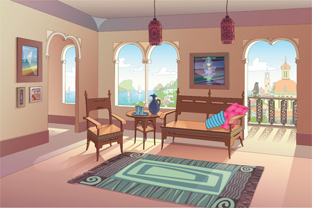 The light living room decorated in oriental style with a beautiful sea view and the eastern city perspective.