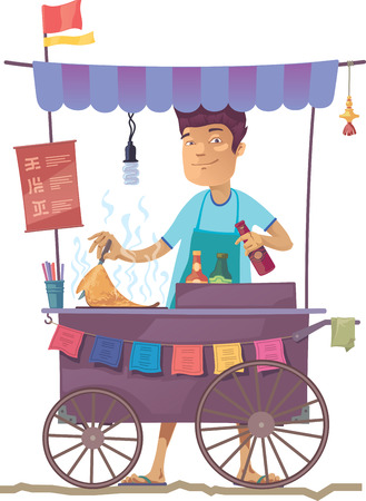 The smiling young asian cook is preparing the tasty pancake on his outdoor mobile street kitchen. He is looking at camera.The hieroglyphs in the menu are only stylization. Illustration