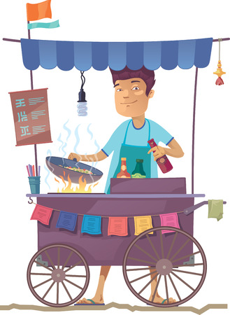 The smiling young asian cook is preparing the tasty vegetarian rice on his outdoor mobile street kitchen. He is looking at camera.The hieroglyphs in the menu are only stylization.