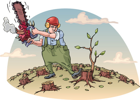 timber cutting: The woodcutter with the chainsaw is cutting the last tree in a forest. Vector illustration. Editable vector illustration. Illustration