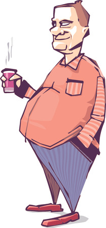 The smiling mature fat man is drinking something hot.   Illustration