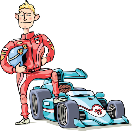 The brave racer is standing near his blue racing car. 向量圖像