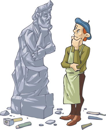 carving: The sculptor is thinking  about something  in front of his self portrait made in stone.