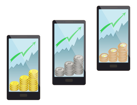 price increase leads to an increase in the number of coins, buying coins moves the price upwards, buying coins in a smartphone on a white background, Vector illustration.