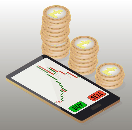 Coins litecoin to the right of the phone, online buying of litecoin on the exchange.