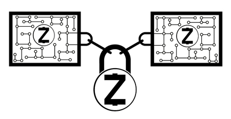 Zcash block chain technology icon,vector design,design concept on a white background ,interlocking the blocks with each other using the lock code Çizim