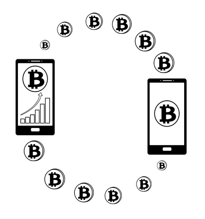 transfer  bitcoin from phone to another phone, diagram on a screen phone,