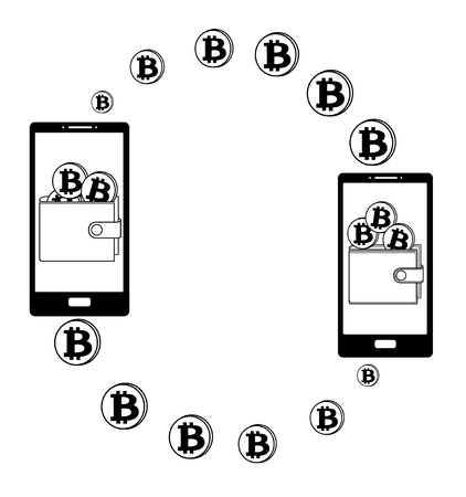 transfer bitcoin in the wallet on a screen phone,transfer bitcoin from phone to wallet Ilustracja