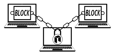 neo block chain technology ,design concept black and white ,interlocking the blocks with each other using the lock code Illustration