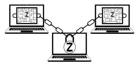 zcash block chain technology, design concept black and white, interlocking the blocks with each other using the lock code