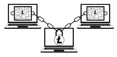 Litecoin blockchain technology design concept in black and white, interlocking the blocks with each other using the lock code Illustration