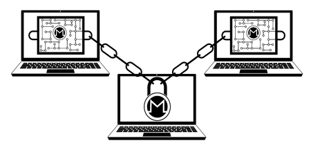 monero block chain technology ,design concept black and white ,interlocking the blocks with each other using the lock code