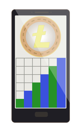 litecoin coin with growth graph on a phone screen,crypto currensy with diagram in the phone,  litecoin crypto currensy design.