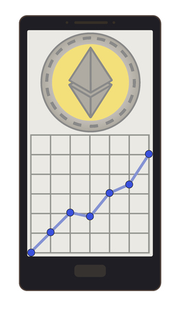 An ethereum coin with growth graph on a phone screen design. Illustration