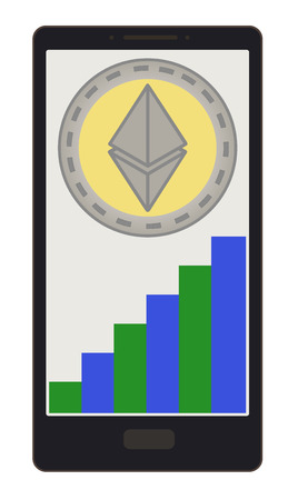 A ethereum coin with growth graph on a phone screen design.