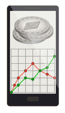 An ethereum coins with growth graph on a phone screen design. Illustration