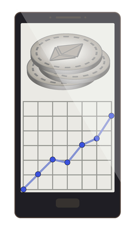 An ethereum coins with growth graph on a phone screen  design.