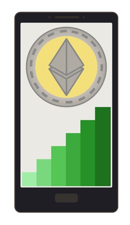 ethereum coin with growth graph on a phone screen,crypto currensy with diagram in the phone,  ethereum crypto currensy design.