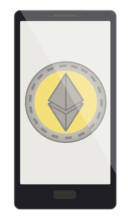 Une pièce de monnaie ethereum sur un écran de téléphone, une monnaie crypto dans le téléphone, une conception de monnaie cryptée ethereum. Banque d'images - 98088782