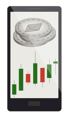 A ethereum coins with candlestick chart on a phone screen, crypt currency with candlestick chart in the phone, ethereum crypt currency design.