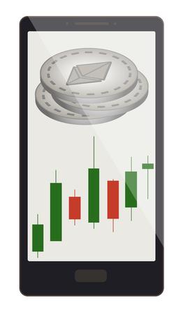 Un pièces de monnaie ethereum avec graphique en chandelier sur un écran de téléphone, la monnaie de la crypte avec le graphique en chandelier dans le téléphone, la conception de la monnaie de la crypte ethereum. Banque d'images - 98088786
