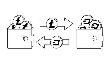 exchange between litecoin and dash in the wallet, cryptocurrency concept black and white
