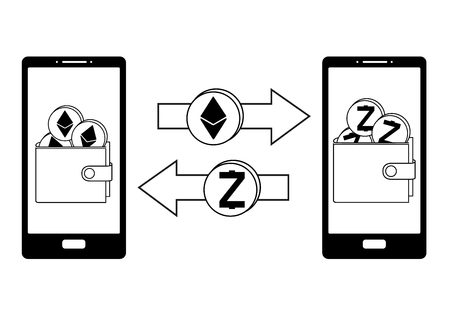 exchange between ethereum and zcash in the phone,crypto-currensy concept black and white, mobile bank