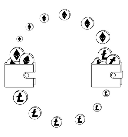exchange between ethereum and litecoin in the wallet,crypto-currensy concept black and white Ilustração