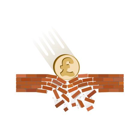 British pound fall down illustration