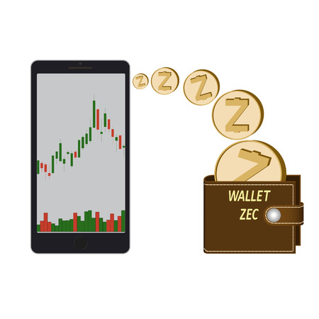 transfer zcash coins in the electronic wallet, buying and transfer of zcash to wallet on a white background , candlestick chart with diagram in the phone , crypto currency coins .