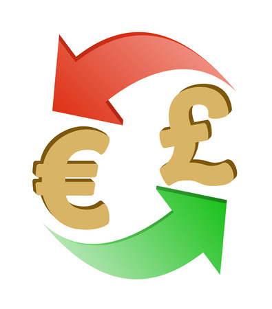 Exchange Euro To British Pound Design Concept Signs Euro