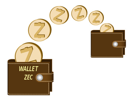 transfer zcash coins from one wallet to another on a white background , transaction crypto currency in the wallet
