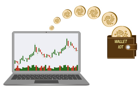 A transfer iota coins in the wallet from laptop , buying and transfer of iota coins to wallet isolated on white with candlestick chart with diagram in the laptop screen.