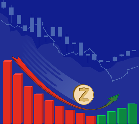 The falling of zcash starts to grow along with price on a blue background , the price of crypto currency is rising with growth diagram , color design concept , the red arrow goes into green