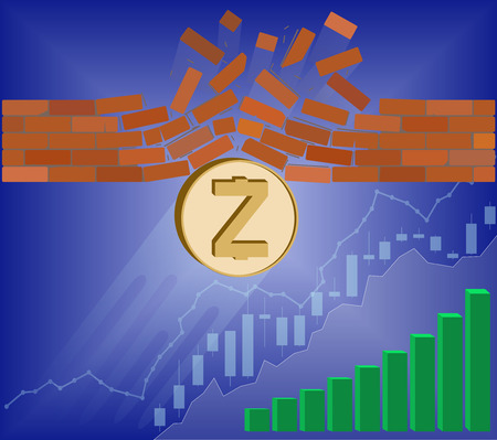 zcash coin breaks through the wall resistance with growth chart on a blue background , the price of crypto currency is rising , vector image design concept Illustration