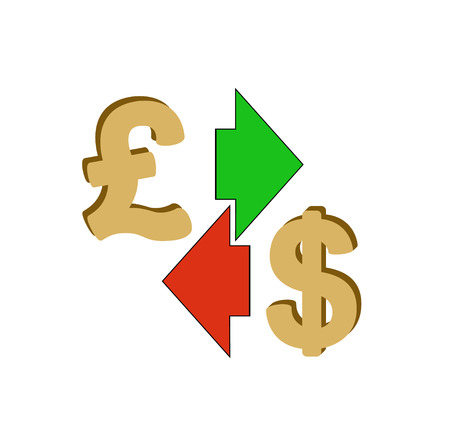 Exchange british pound to dollar, design concept, signs euro and dollar with green and red arrow, icon and symbol currency design on a white background Illustration