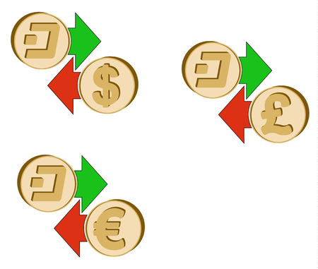 Exchange Dash To Dollar Euro And British Pound With Green And