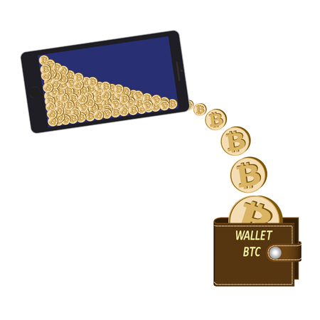 transfer bitcoin coins from phone to wallet on a white background ,  crypto currency coins are poured from the phone in the wallet , design concept