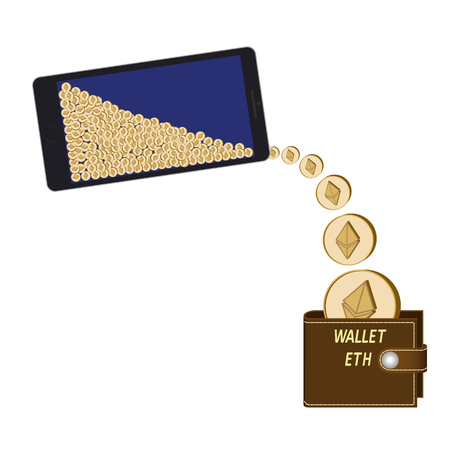 transfer ethereum coins from phone to wallet on a white background ,  crypto currency coins are poured from the phone in the wallet , design concept